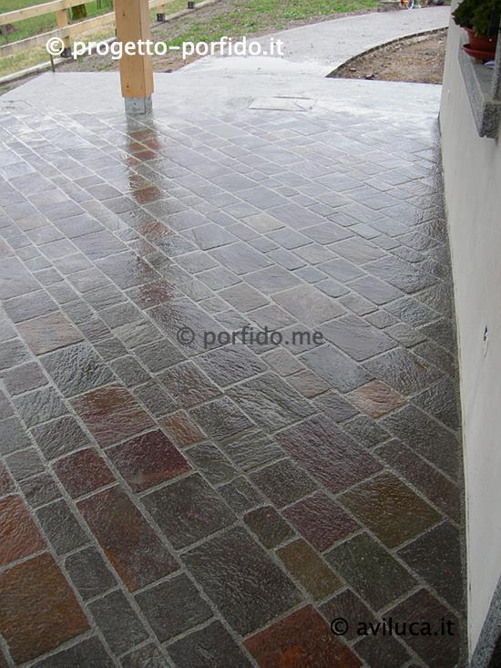 Piastrelle posa diagonale di porfido del trentino piano cava tranciate - Posa piastrelle mosaico ...