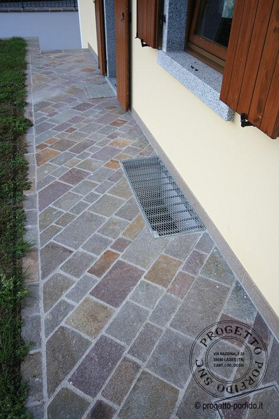 Piastrelle posa diagonale di porfido del trentino piano - Posa piastrelle in diagonale ...