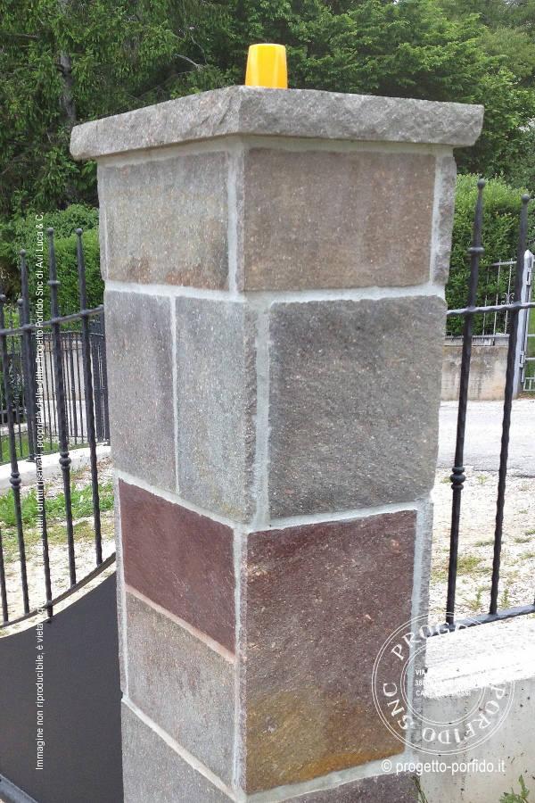 rivestimento pilastri con porfido